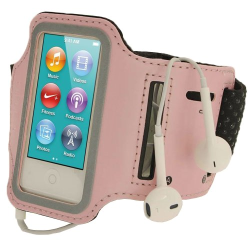 igadgitz U2044 Pink Rosa Reflektierende Anti-Rutsch Neopren Sports Armband Oberarmtasche Kompatibel mit Apple iPod Nano 7. Generation 16GB 7G