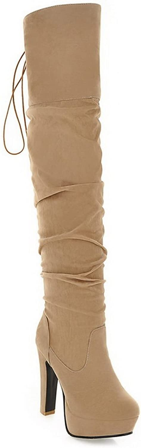 WeiPoot Women's Round Closed Toe High-Heels Frosted Solid Knee-High Boots, Beige, 38