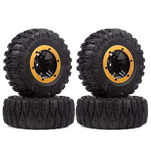 INJORA RC Crawler Reifen Set 2,2inch Reifen mit Beadlock Felgen 4pcs für 1/10 RC Rock Crawler Axial SCX10 90046 90047 Traxxas TRX-4 (Gold)