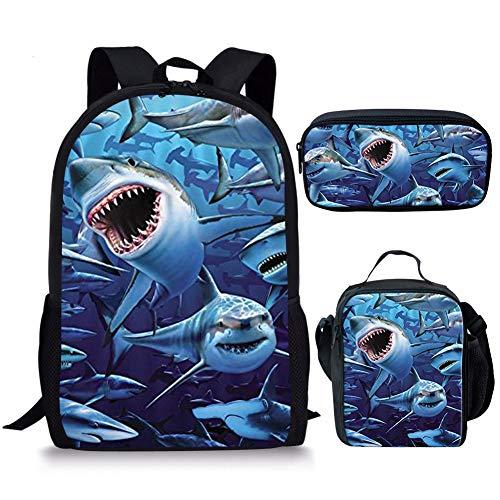 Nopersonality Dinosaurier-Hai Schulranzen und Lunchtasche Federmäppchen Set für Jungen Grundschule Rucksack mit Flaschenhalter Blau Shark-3 Schulranzen-Set L
