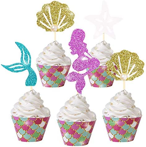 Mermaid Cupcake Cake Toppers Wrappers Mermaid Party Decoration for Baby Shower Kids Birthday product image