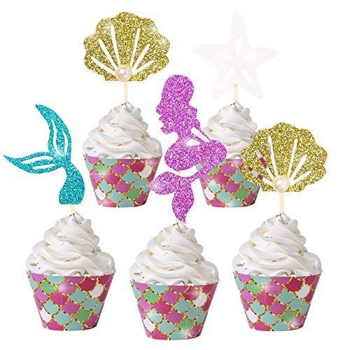 Mermaid Cupcake Cake Toppers Wrappers Mermaid Party Decoration for Baby Shower Kids Birthday Party Favor Supplies 24PCS Mermaid Tail Seashell Starfish Food Picks and 24PCS Wrappers…