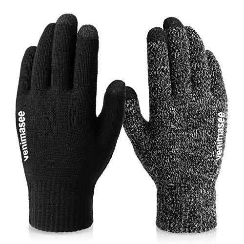 VBIGER Guanti invernali spessi Guanti touch screen Guanti freddi con polsino elastico antiscivolo in silicone nero
