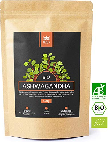 Holi Natural Premium BIO Ashwagandha Wurzel Pulver - 500g und 250g - ECHTE Indische Withania Somnifera aus kontrolliert biologischem Anbau - im biologisch abbaubaren wiederverschließbaren Beutel