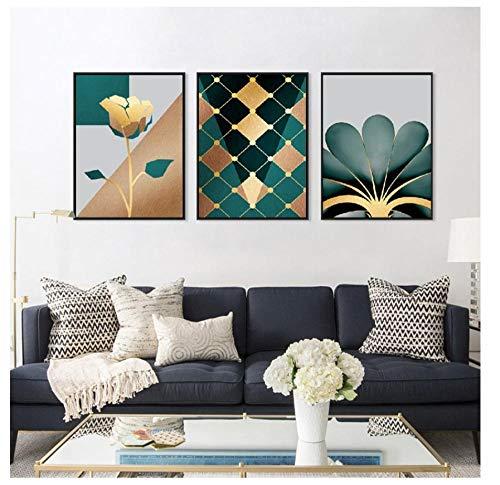 ZPANPAN 3Ps Nordic Modern Minimalistic Wandkunst Goldene, geometrische Blumen abstrakte Leinwand Paintin, Home Art Poster und Drucke Dekoration-40X50Cm
