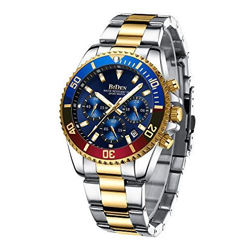 Relojes Hombre Relojes Grandes de Pulsera Cronografo Diseñador Luminosos Impermeable Reloj Hombre de Acero Inoxidable Dorado Analogicos Fecha
