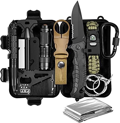 Gifts for Men Dad Him Husband, equipo y equipo de supervivencia, kit de supervivencia 11 en 1, calcetines de Navidad, regalos de cumpleaños de pesca para novio adolescente, gadget genial, kit de supe