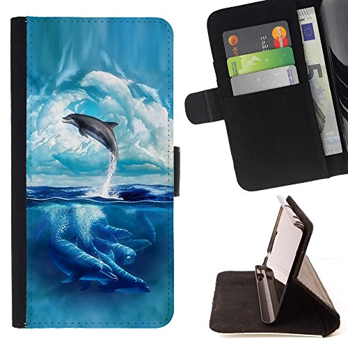 STPlus Dolphin Sea Animal Wallet Card Holder Cover Case for Samsung Galaxy Core Prime