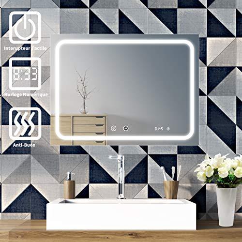 Sogoo lichtspiegel voor de badkamer, 24 W, 60 x 80 cm, met LED-verlichting en digitale klok, sensorschakelaar met geheugenfunctie, natuurlijk wit licht 6500 K, eenvoudig en elegant design