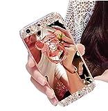 Sweau Funda iPhone 6/6s Silicona Carcasa Caso Cover Anti-Arañazos Funda Bling Glitter Espejo Volver Caso Ultra Delgado TPU Transparente Protectivo Parachoques Tapa Trasera Shell con Oso Anillo