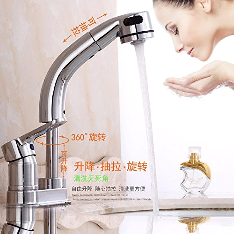 Küchenarmatur Waschtischarmatur Wasserfall Wasserhahn Badarmatur Waschbecken Doppelloch Warm- und Kaltwasserhahn Becken Warm- und Kaltwasserhahn Drei-Loch-Handwsche kann angehoben und gezogen werden
