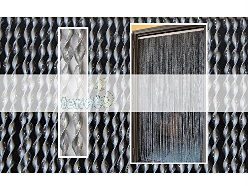 Cirillo Tende PVC-Türvorhänge Modell 21-Aluminiumträger-Made in Italy-Eichmaß (95X200/100X220/120X230/130X240/150X250)-Fliegenvorhang-KunststoffVorhänge (90X200, Grigio Glitter Argento (2))