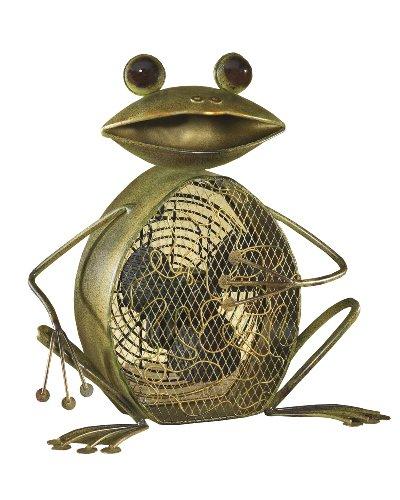 DecoBREEZE Decorative Table Fan, Desk Fan, Two Speed Electric Tabletop Fan, Figurine Fan, 7 inch, Frog