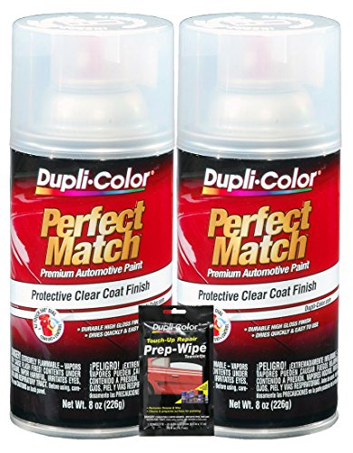 Dupli-Color Clear Perfect Match Automotive Top Coat - 8 oz, Bundles with Prep Wipe (3 Items)