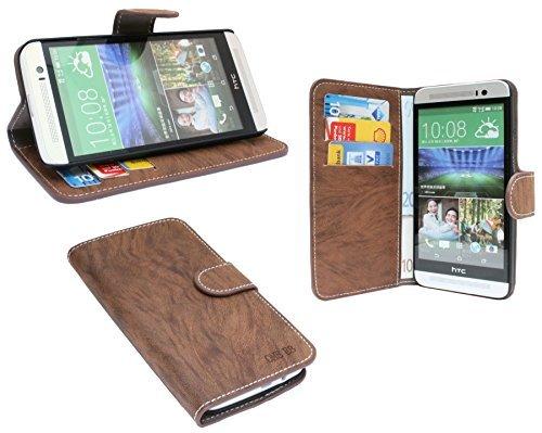 ENERGMiX Buchtasche kompatibel mit HTC ONE (E8) Hülle Case Tasche Wallet BookStyle mit Standfunktion in Coffee Braun