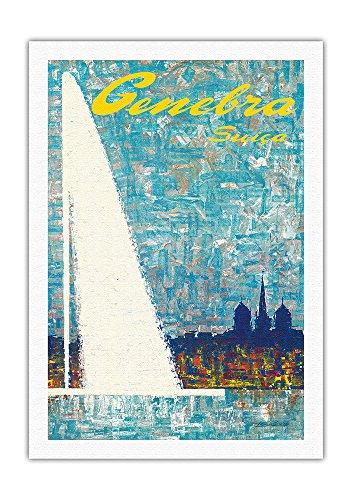 Pacifica Island Art Genf, Schweiz - Brunnen - Vintage Retro Poster Tourismus von Fernando Correta c.1968 - Kunstdruck auf Leinwand - 69cm x 102cm