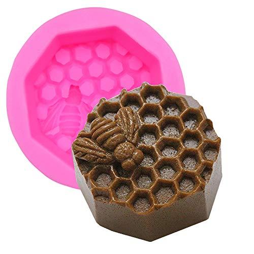 Bienenennest Kerzen-Formen aus Silikon für 3D DIY selbstgemachte Bienenwachskerzen, Kunstwerke Polymer-Fimo-Modelle, 2 Stück 1 bees