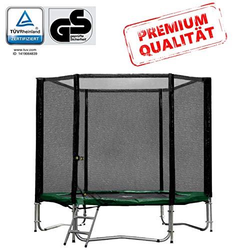 Baunsal GmbH & Co.KG Gartentrampolin Trampolin 244 bis 250 cm in grün mit Sicherheitsnetz und Einstiegsleiter