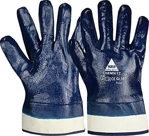 strongAnt Guanti di sicurezza CHEMNITZ blu nitrile, completamente spalmati. Chimico e idrorepellente. Guanto da lavoro universale guanti da giardino - taglia: 12