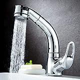 Bad Waschbecken Wasserhahn 360-Grad-Drehung Deck montiert Ausziehwaschbecken Kalt- und...