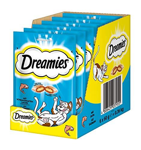 Dreamies Klassiker Katzensnacks mit Lachs – Traumhaft knusprige Taschen mit zarter Füllung – 6 x 60g