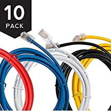 Buhbo 1 ft CAT 5E UTP Ethernet Network Non Booted Patch Cable (10-Pack), Multi-Color Black, Blue, Red, Yellow, White