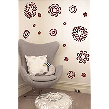 Flower Pattern Wall Decal - Removable DIY Vinyl Sticker Girls Room Art Home Decor Graphic Transfer (Burgundy, 19x24 inches)
