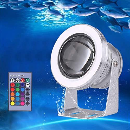 LED Scheinwerfer Strahler RGB Farbwechsel Spot Licht mit IR Fernbedienung, IP67 Wasserdichte Teich Aquarium Lampe 12 V 10 W für Brunnen Teich Garten Schwimmbad