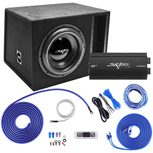 "Skar Audio Single 12"" Complete 2,500 Watt EVL Series Subwoofer Bass Package - Includes Loaded Enclosure with Amplifier"