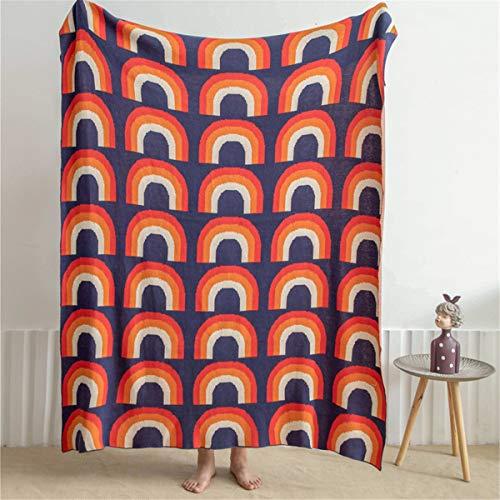 Knied Rainbow Rayas Rayas Manta Nordic Algodón Colorido Tassels Sofá Silla Cama Cama Edredón Decoración para el hogar