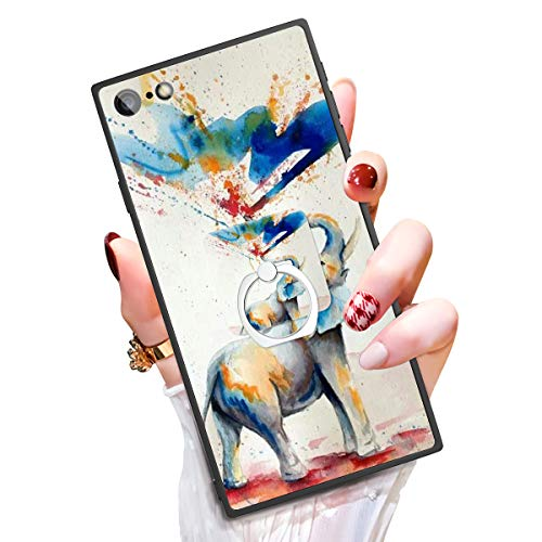 Someseed Case for iPhone 6 Plus iPhone 6s Plus Case with Kickstand Watercolor Elephant Cover Case with 360 Degree Ring Holder Anti Scratch Durable Full Protective for iPhone 6 Plus / 6s Plus 5.5'