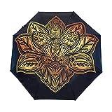 DEZIRO - Paraguas de Tres Pliegues, diseño de Flor de Loto Vintage
