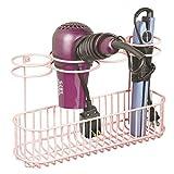 mDesign Soporte de pared para secador de pelo – Estante de baño de metal con 4 aros de soporte y gran superficie de apoyo – Organizador de baño ideal para guardar secador y rizador – rosa claro