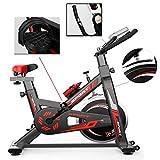 SHDS Bicicleta de Ejercicio Profesional para Interiores |Bicicleta de Ciclo para Interiores, diseño de Estructura de Soporte Triangular, Pedal Ajustable Antideslizante (Negro)