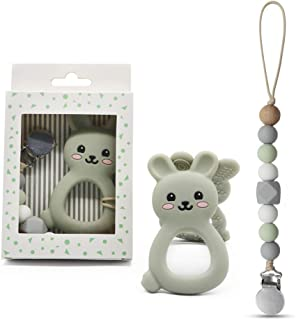 Mechew Dummy Clips Pacifier Clips with Baby Teether Silicone Teething Toys Holder for Boys, Soother Chains Baby Shower Gift(Gray)