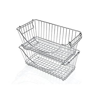 PROMART DAZZ Medium Stacking Baskets, Chrome, Set of 2