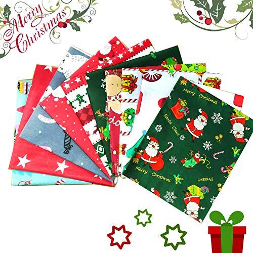 HIQE-FL 10 Pezzi Scampoli Stoffe,Patchwork Tessuti Natale,Tessuto Cotone,Patchwork Cotone Tessuto,Tessuto di Cotone Natale (A)