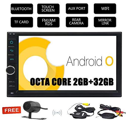 Cam¨¦ra de recul sans fil gratuit !! Android 8.1 Oreo syst¨¨me Octa + 2 Go de base 32Go 7 pouces ¨¦cran tactile capacitif multi Headunit avec bouton color¨¦ lumi¨¨res support de navigation GPS / Bluet