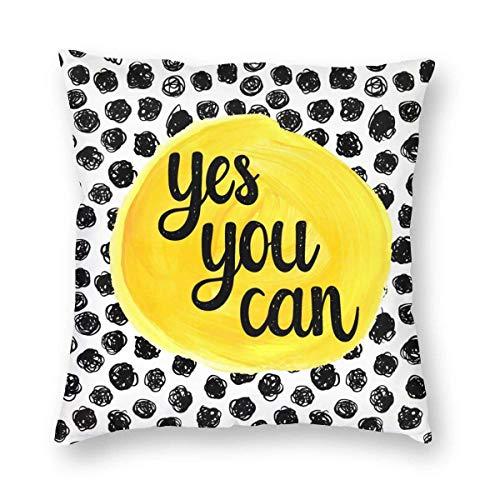 N\A Throw Pillow Cover Yes You Can Inspire Quote Splash Stain Funda de Almohada Cuadrada Decorativa Funda de Almohada Decoración del hogar para sofá Dormitorio