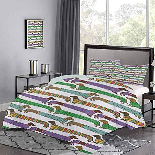 Juego de ropa de cama de Dachshunds de estilo de dibujos animados vestidos con pijamas con líneas de Chevron, lunares y corazones, juego de ropa de cama artística para decoración de dormitorio, multic