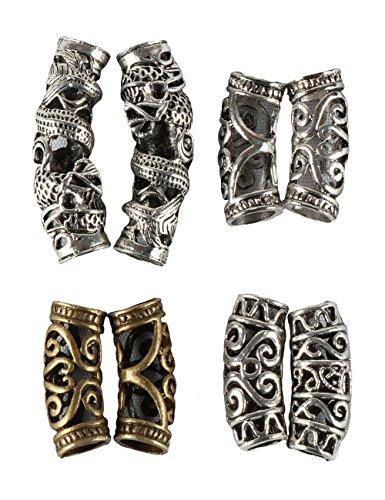YMHPRIDE - Set di 8 perline per capelli con perline per treccia, accessori per la decorazione dei capelli, 4 stili, fai da te tibetano, argento