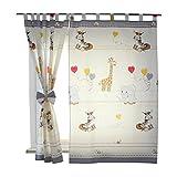 TupTam Tende con Bracciali per Camerette per Bambini 2 pz, Animali Grigio, c. 155x95 cm