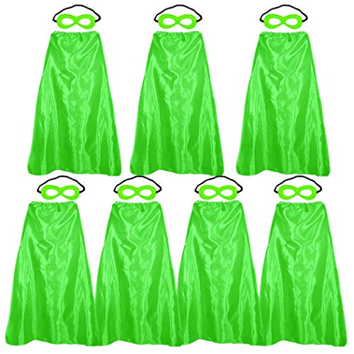 Superhero-Capes and Masks for Adults Bulk, Super Hero Dress Up Costume for Men Role Play Party Favors, 7 Pack (Green)