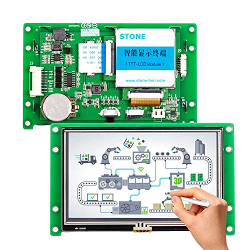 RS232 RS485 TTLインターフェイスを備えた4.3インチタッチLCDモニタ、あらゆるマイクロコントローラをサポート