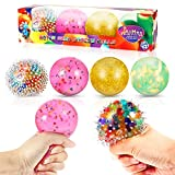 JAiiMen Stress Relief Ball Sensory Fidget Toy Gift for Kids and Adults, 4 Different Textures and Colors Ultimate Squeeze Squishy Water Bead Stress Balls for ADHD, Anxiety, Tension