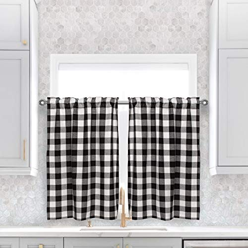 Buffalo Plaid Curtains, Black and White Check Lined Tiers Curtains, Gingham Pattern 2 Layer Rod Pocket ,Privacy Curtain Tiers for Windows Bathroom ,26W by 36L Inch,Black, Set of 2