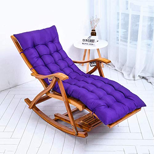 SHZSR Outdoor-Liegestuhl Zero Gravity Chair Klappbarer Verstellbarer Bambus-Schaukelstuhl Relaxer-Liege Mit Bequemen Kissen Max. Belastung 200 Kg