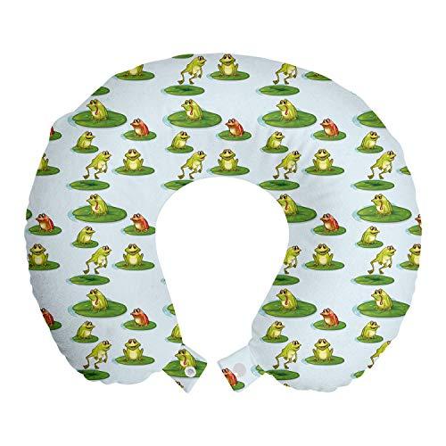 ABAKUHAUS Rana Cojín de Viaje para Soporte de Cuello, Animales de Dibujos Animados Saltando Pond, de Espuma con Memoria Respirable y Cómoda, 30x30 cm, Azul bebé Multicolor