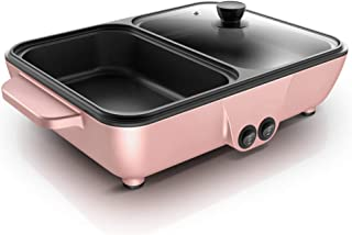 l.e.i. Nonstick Electric Griddle,2-in-1 Indoor Grill Pan Hot Pot,Small Multifunctional Electric Cooker,Smokeless BBQ Grill...