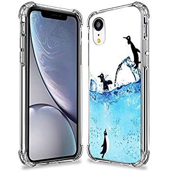 Penguins Case for iPhone XR,Gifun Anti-Slide Clear TPU Flexible Protective Case Cover Compatible with iPhone XR 2018 - Penguins Roaming The ICY Waters